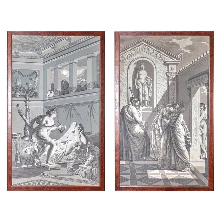 Pair of Wall Decoration 'En Grisaille' by Dufour, Paris, France, 19th Century For Sale