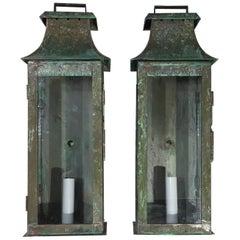 Pair Of Wall Hanging Copper Lantern