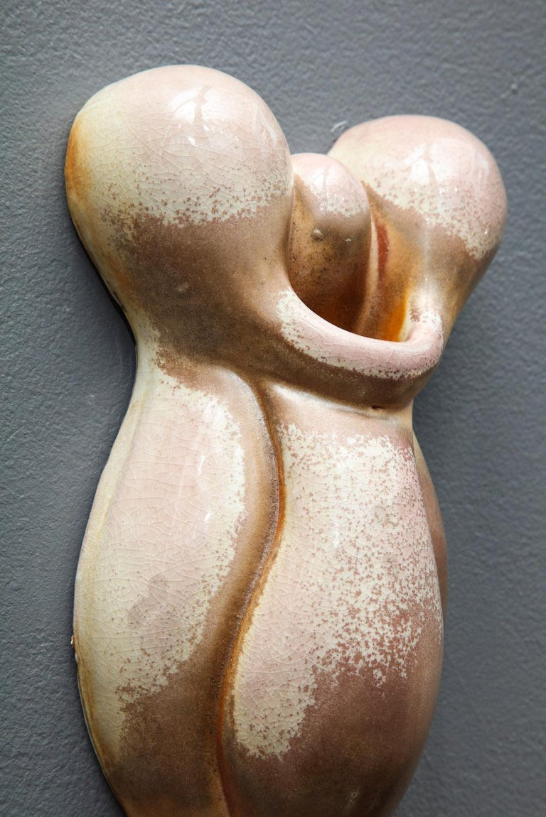Glazed Pair of Wall Hanging Sculptures by Rosanne Sniderman For Sale