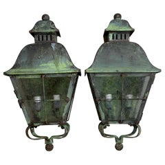 Pair of Wall Hanging Solid Brass Lantern