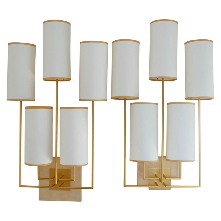 Pair Of Wall Lamp Sconce In Gold Patina And White Fabric Shades For