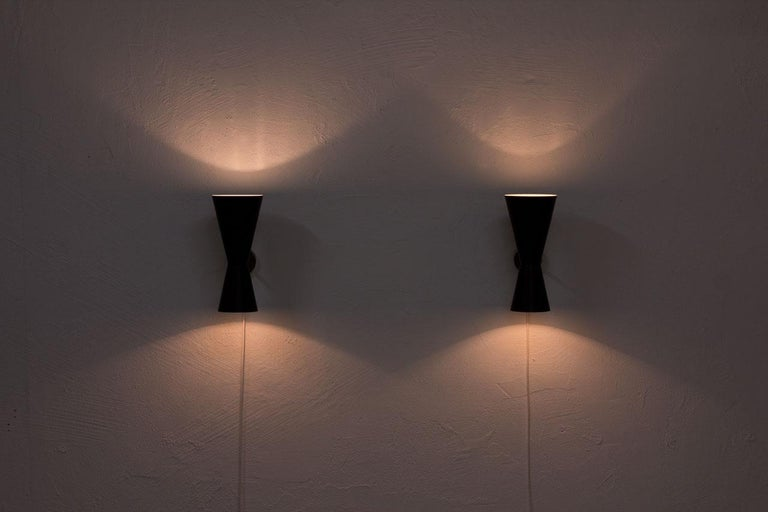 Pair of Wall Lamps by Alf Svensson for Bergboms, Sweden, 1950s 3