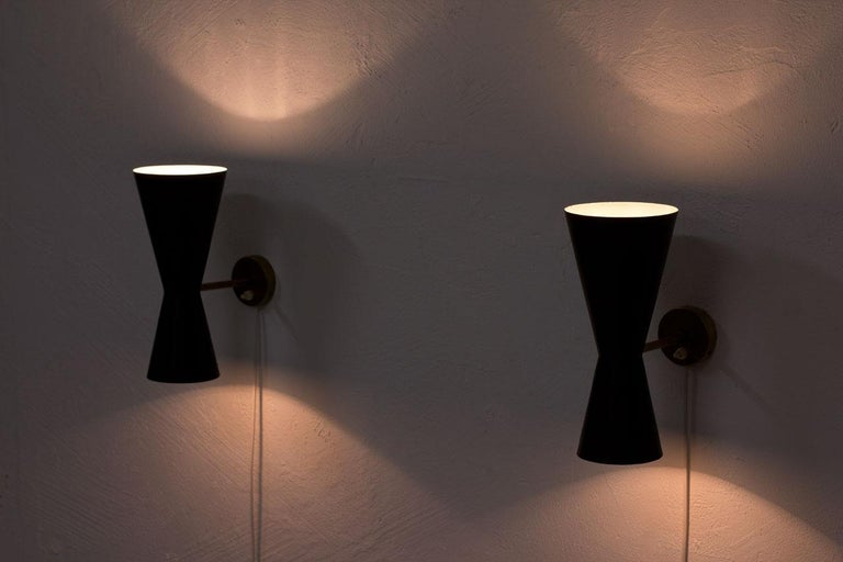 Pair of Wall Lamps by Alf Svensson for Bergboms, Sweden, 1950s 4