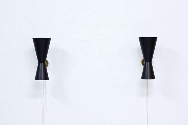 Scandinavian Modern Pair of Wall Lamps by Alf Svensson for Bergboms, Sweden, 1950s
