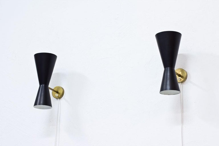 Swedish Pair of Wall Lamps by Alf Svensson for Bergboms, Sweden, 1950s