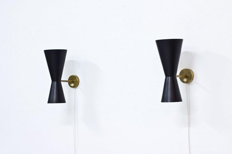 Pair of Wall Lamps by Alf Svensson for Bergboms, Sweden, 1950s In Good Condition In Stockholm, SE