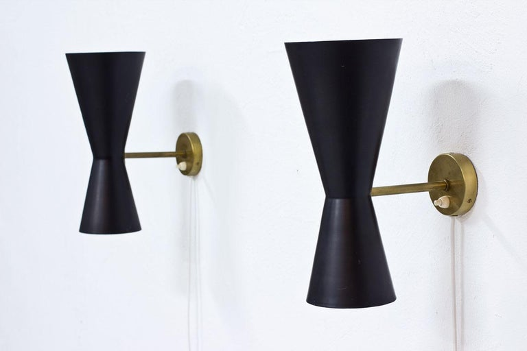 20th Century Pair of Wall Lamps by Alf Svensson for Bergboms, Sweden, 1950s