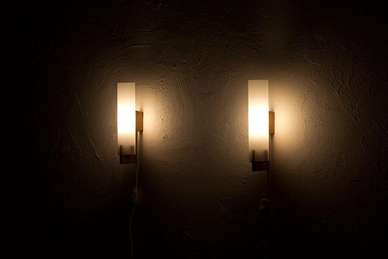 Acrylic Pair of Wall Lamps by Luxus, Sweden, 1960s