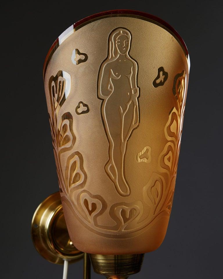 Scandinavian Modern Pair of Wall Lamps Designed by Bo Notini for Glössner, Sweden, 1940s For Sale