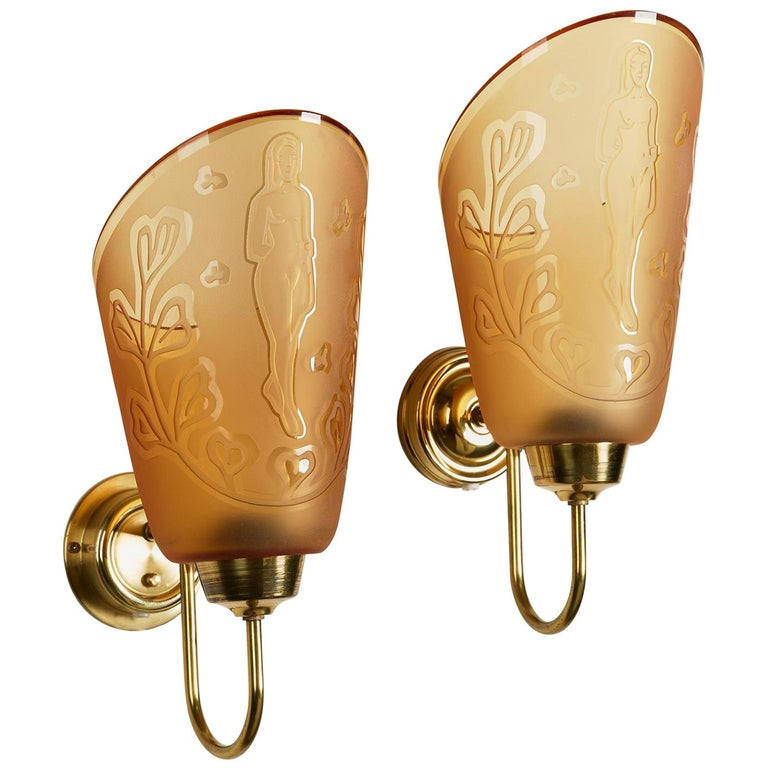 Pair of Wall Lamps Designed by Bo Notini for Glössner, Sweden, 1940s For Sale