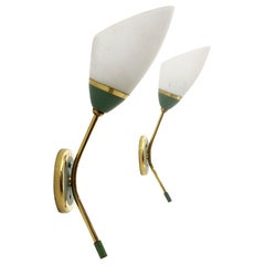 Pair of Wall Lamps in Brass and Opal Glass, 1950s