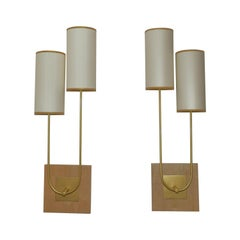 Pair of Wall Light in Metal Gold Patina by Aymeric Lefort