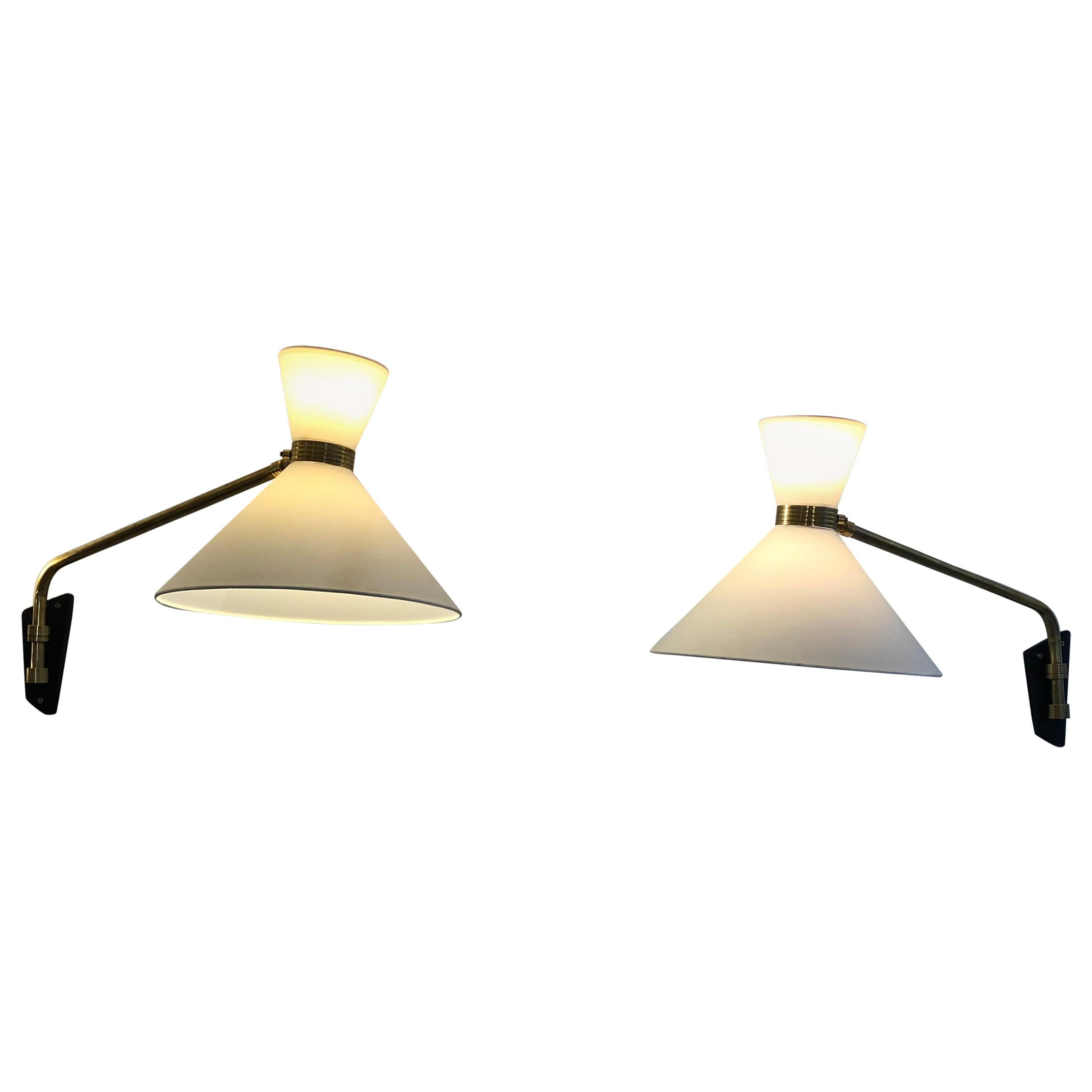 Pair of Wall Lights Adjustable by Arlus, 1950