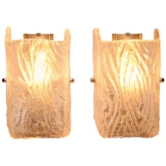 Pair of Wall Lights by Kalmar with Textured Glass Shades, 1960s