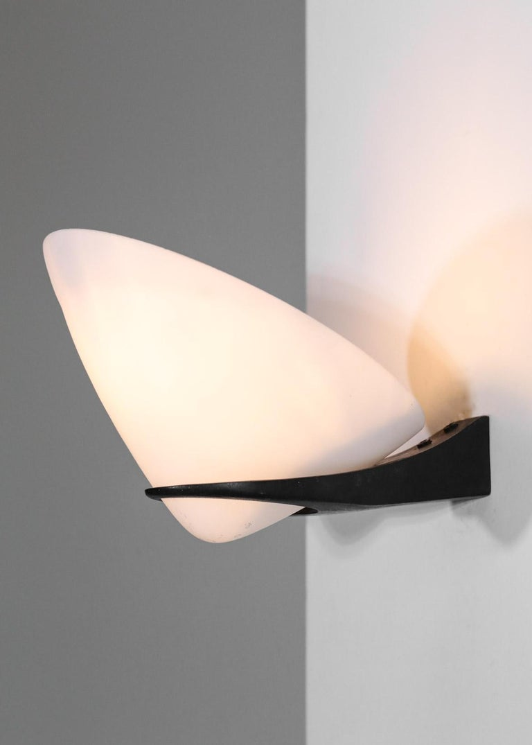 Iron Pair of Wall Lights by Stilnovo Italian Design For Sale