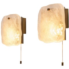Pair of Wall Lights in Thick Glass and Brass