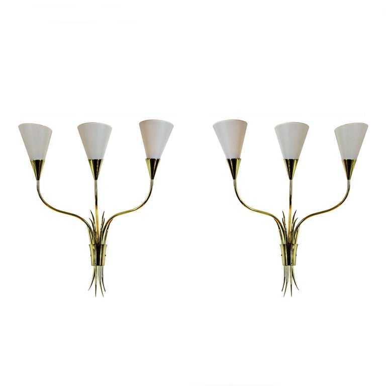 Pair Of Simple Church Lights For Sale: Pair Of Wall Lights, Polished Brass, Celluloid Lampshades