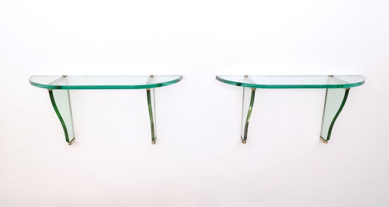 Pair of Wall-Mounted Consoles by Pietro Chiesa for Fontana Arte, Italy, 1940s In Excellent Condition In Bresso, Lombardy