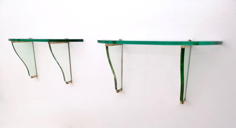 Mid-20th Century Pair of Wall-Mounted Consoles by Pietro Chiesa for Fontana Arte, Italy, 1940s For Sale