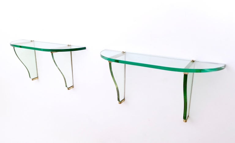 Brass Pair of Wall-Mounted Consoles by Pietro Chiesa for Fontana Arte, Italy, 1940s For Sale