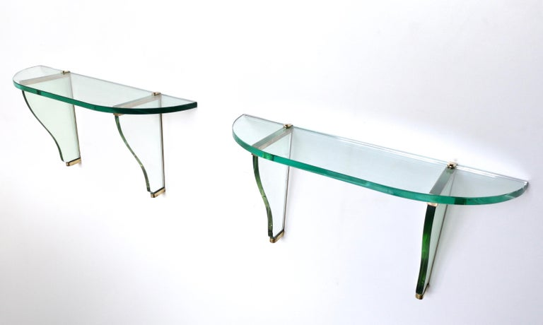 Pair of Wall-Mounted Consoles by Pietro Chiesa for Fontana Arte, Italy, 1940s For Sale 1