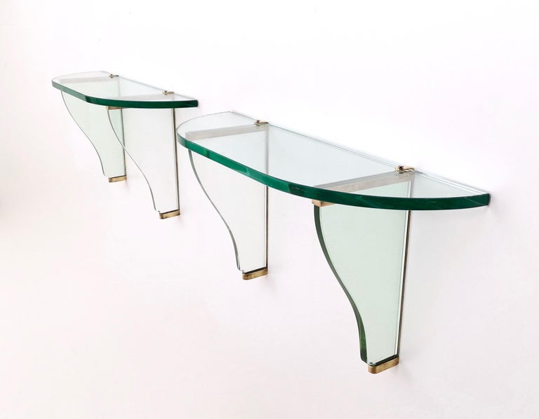 Pair of Wall-Mounted Consoles by Pietro Chiesa for Fontana Arte, Italy, 1940s For Sale 2