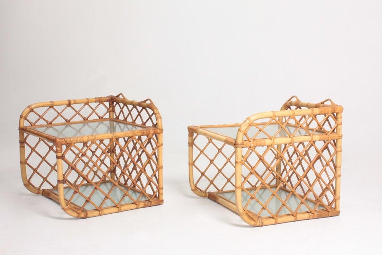 Pair of Wall-Mounted Nightstands in Bamboo, 1960s For Sale 1