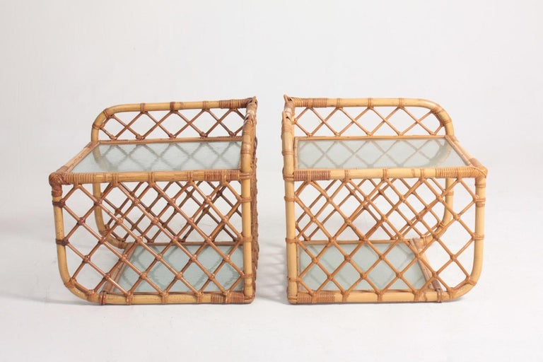 Pair of Wall-Mounted Nightstands in Bamboo, 1960s For Sale 2