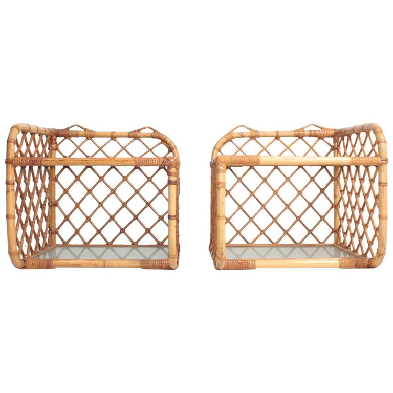 Pair of Wall-Mounted Nightstands in Bamboo, 1960s For Sale