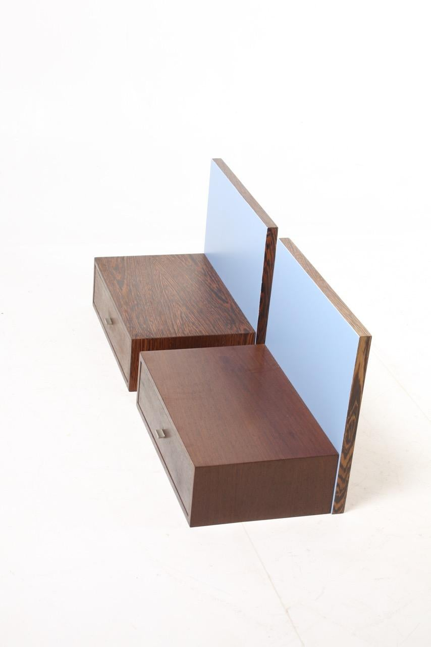 Pair Of Wall Mounted Nightstands In Wenge Light Blue Back Panels Denmark 1960s