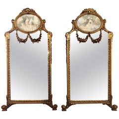 Pair of Wall or Console Mirrors, Italian Trumeau Form