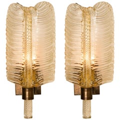 Pair of Wall Sconces Barovier & Toso Gold Toned Glass Murano, Italy, 1960