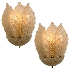 Pair of Wall Sconces Barovier & Toso Murano Glass and Gold-Plated, Italy, 1960