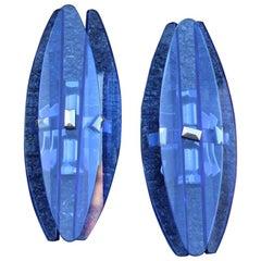 Pair of Wall Sconces Blu Cobal Veca Design Italian 1960s Minimal Shape