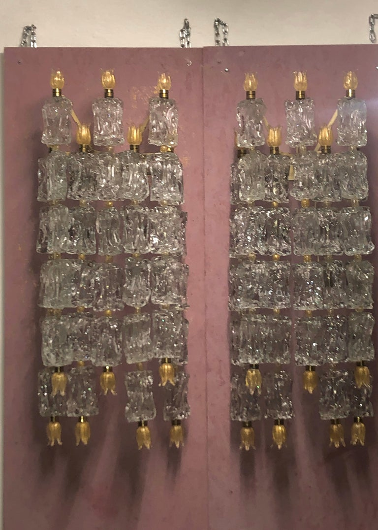 Mid-Century Modern Pair of Monumental Wall Sconces by Barovier Toso, circa 1950s For Sale