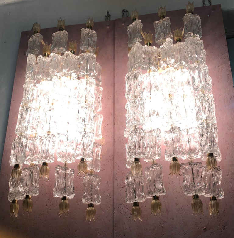 Pair of Monumental Wall Sconces by Barovier Toso, circa 1950s For Sale 6