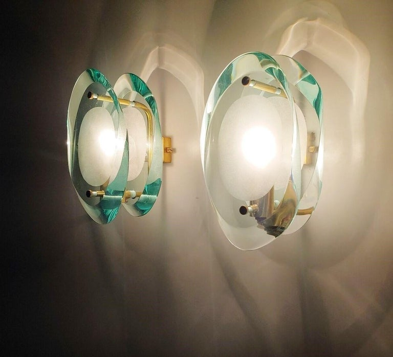 Polished Pair of Wall Sconces by Max Ingrand for Fontana Arte Model 2093, Italy, 1961 For Sale