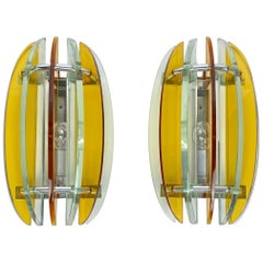 Pair of Wall Sconces in Colored Glass and Chrome by Veca, Italy, 1970s