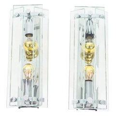 Pair of Wall Sconces in Glass and Chromed Metal, 1970s