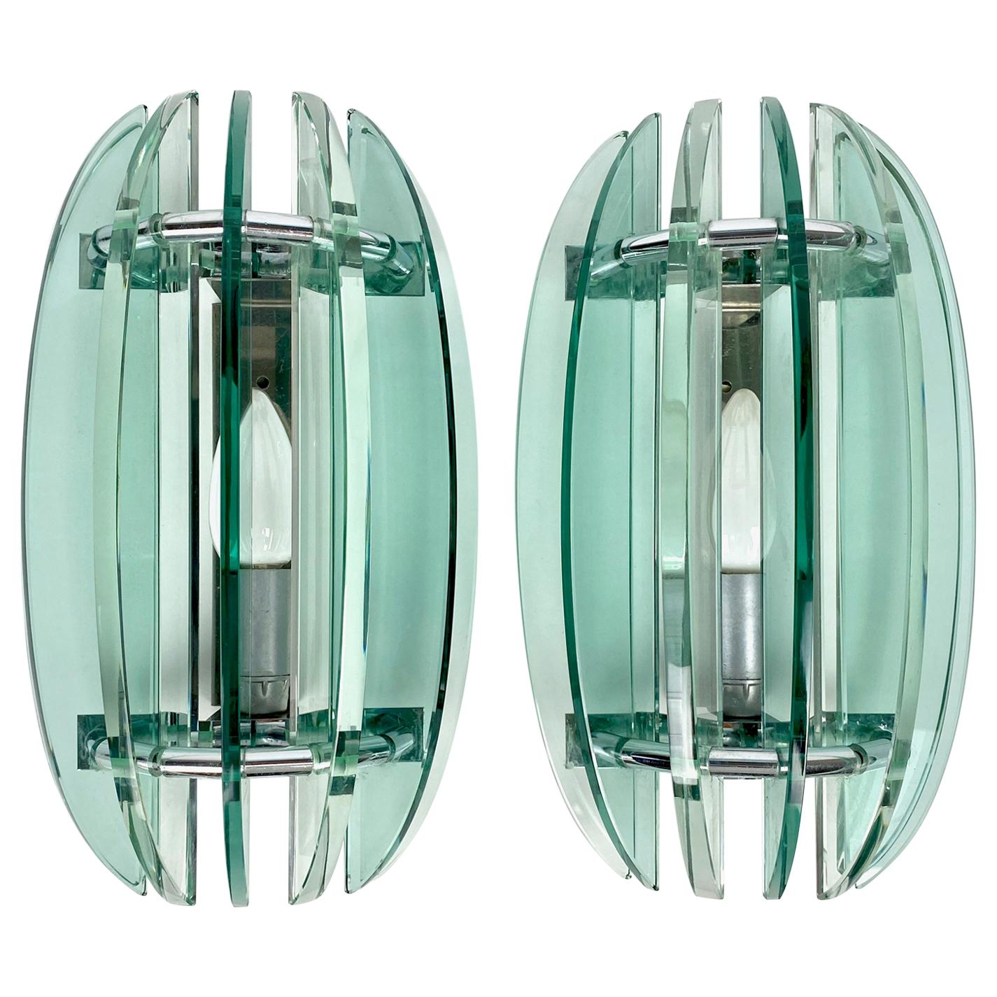 Pair of Wall Sconces Lamp in green Glass and Chrome by Veca, Italy, 1970s