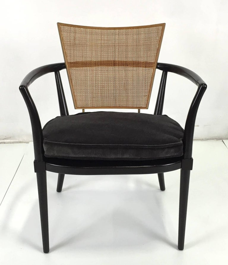 Fabulous pair of iconic armchairs by Bert England for Johnson Furniture. These beautifully crafted chairs that have been meticulously refinished to like-new condition. The seat cushions have been reupholstered with new foam and Dacron batting and