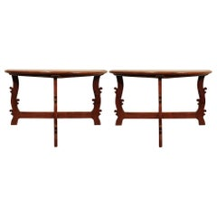 Pair of Walnut 18th Century Tuscan Demilune Consoles