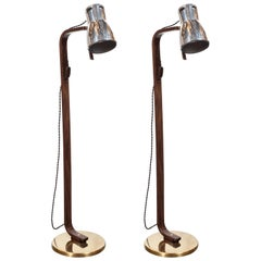 Pair of Walnut, Aluminum & Brass Articulating Floor Lamps by Hans-Agne Jakobsson