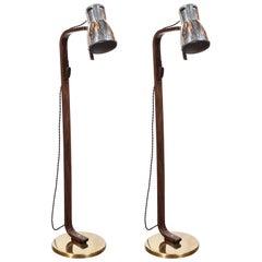 Pair of Walnut, Aluminum & Brass Articulating Floor Lamps by Hans-Agne Jakobsson