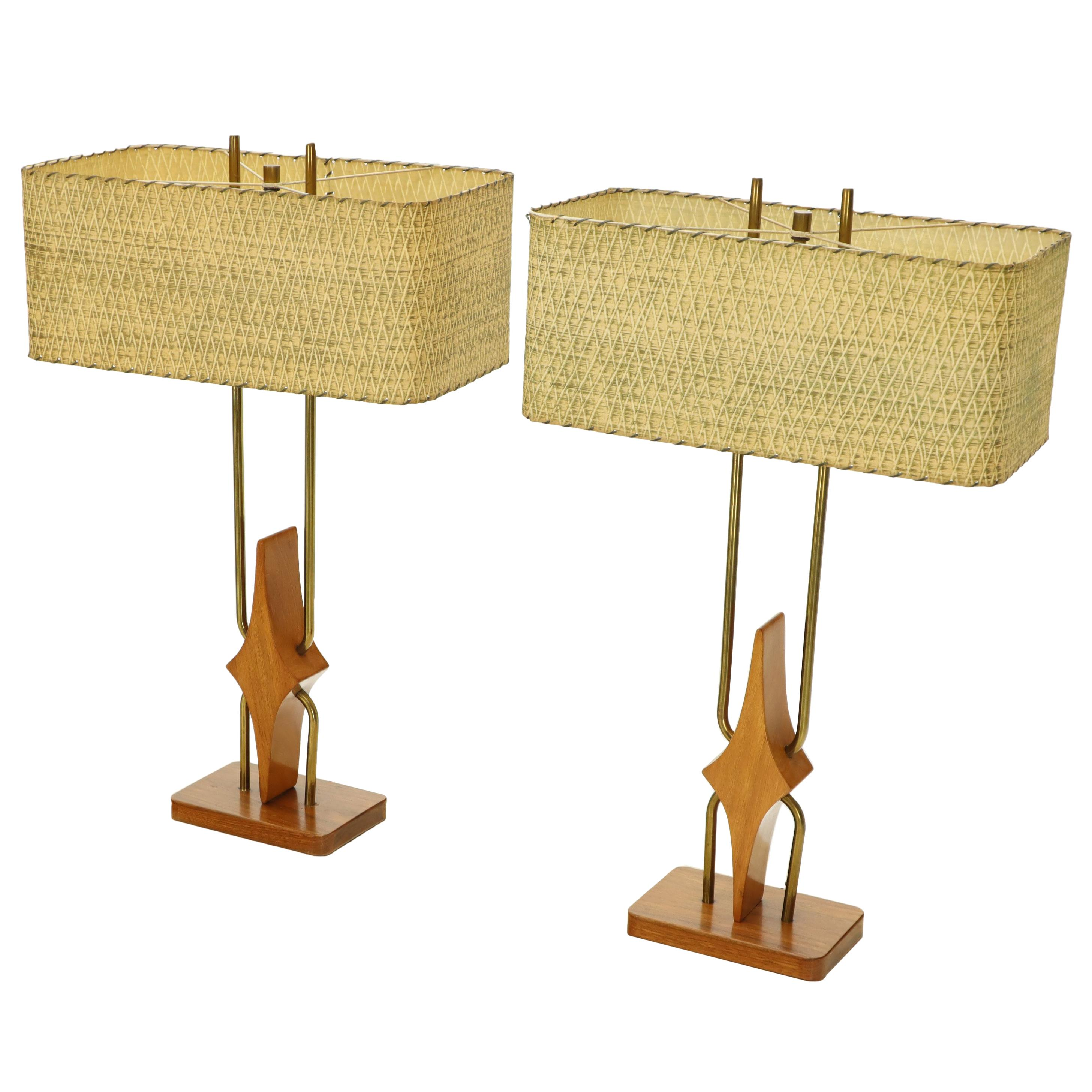 Pair of Walnut and Brass Diamond Pattern Table Lamps