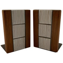Pair of Walnut and Ceramic Bookends Manner of Marshall Studios