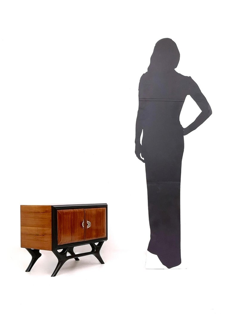 Italian Pair of Walnut and Ebonized Wood Nightstands with Painted Handles, Italy, 1950s For Sale