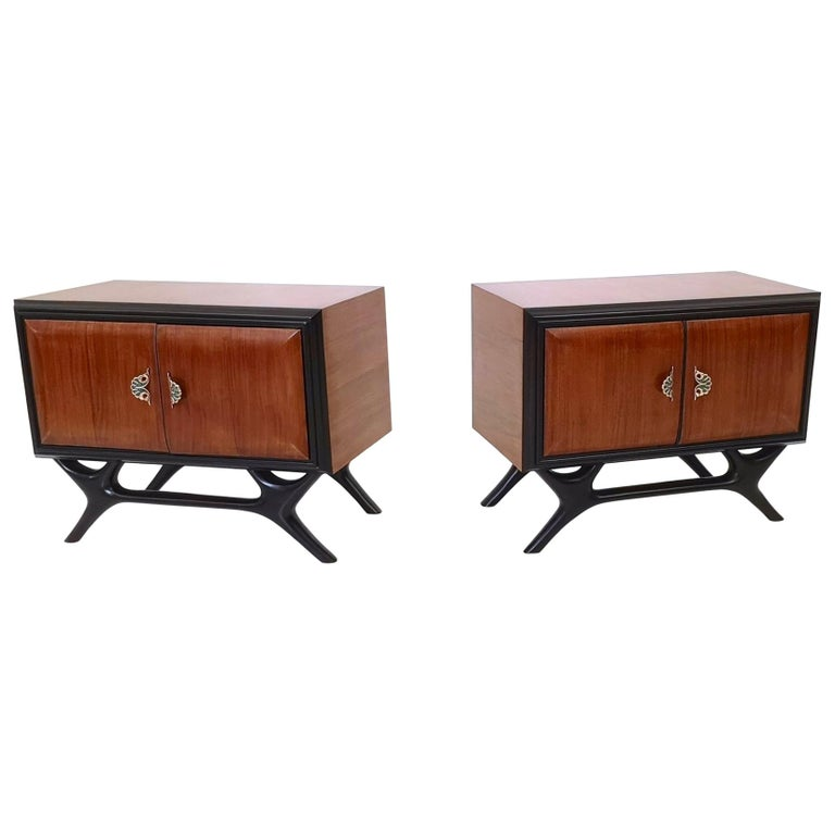 Pair of Walnut and Ebonized Wood Nightstands with Painted Handles, Italy, 1950s For Sale