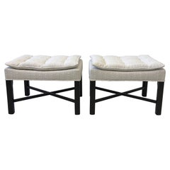 Pair of Walnut and Fabric Ottoman by Michael Taylor