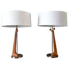 Pair of Walnut and Nickel Modernist Table Lamps by Rembrandt Lamp Co, 1965